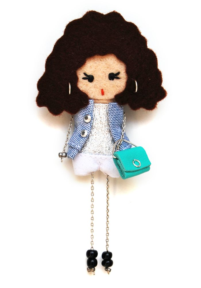 Julia. # felt dolls # brooche doll # custom doll # minimis