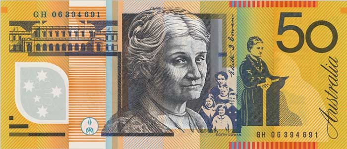 The back of the $50 banknote featuring Edith Cowan.