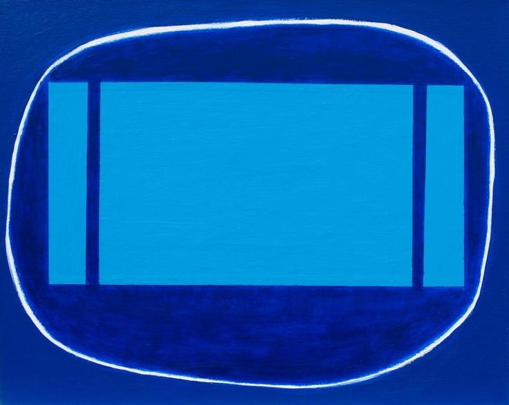 """Midnight Swim, Uxbridge Lido"" ~ 20in x 16in ~ acrylic on canvas"