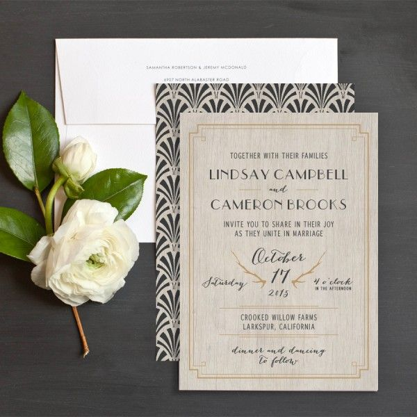 Rustic glam wedding invitation by Emily Crawford at Elli.com