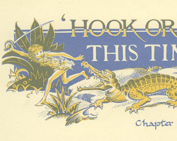 Captain Hook Crocodile Illustrated Chapter by MarcadeVintagePrints