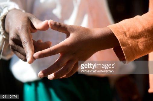 Children shaking hands, Cape Town, Western Cape Province, South Africa