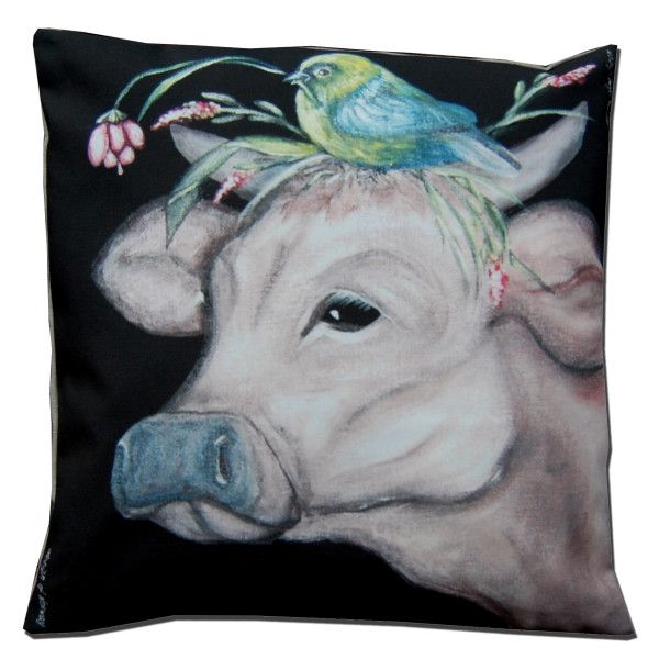 Cushion ,,Cow,,  by Anna Strøm design of Norway www.design-of-norway.no