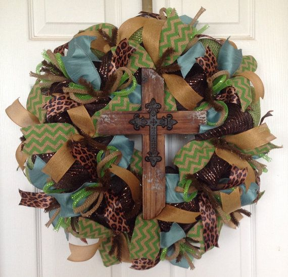 Spring Mesh Wreath  Rustic Cross  Leopard by KaylasKreationsTX