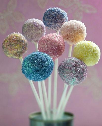 edible glitter cake pops.