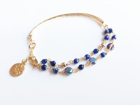 Blue Bracelet Gold filled Jewelry Crystal faceted by Sifrimania #etsy #hepteam