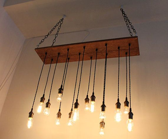 Repurposed Oak Industrial Hanging Light with Edison by urbanchandy, $450.00