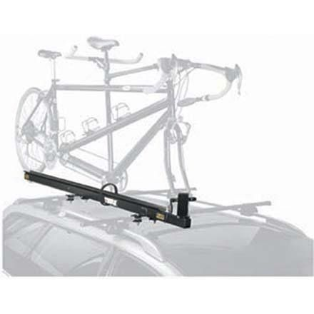 "Thule Tandem Carrier Roof Rack One Size. Innovative pivoting fork mount design enables easy one-person loading and unloading. Secure stainless steel skewer holds fork in place for safe transport. Corrosion resistant 75"" aluminum wheel tray and stainless steel hardware for years of trouble-free use. Rear tray can be removed for trunk/hatch clearance and conventional bike transport. Fits Thule rack systems or round bars."