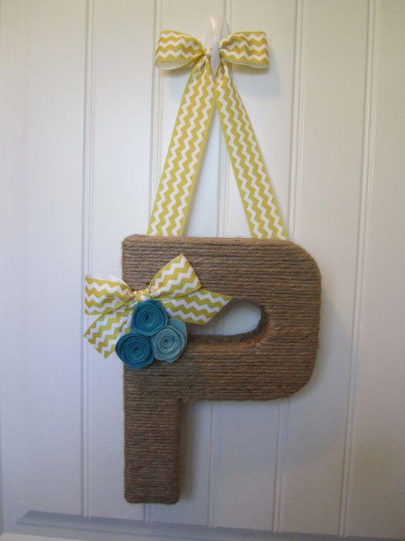 Chevron Jute Monogram Wreath. Handmade Letter by EmbellishedLiving