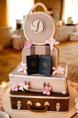 Travel theme wedding cake