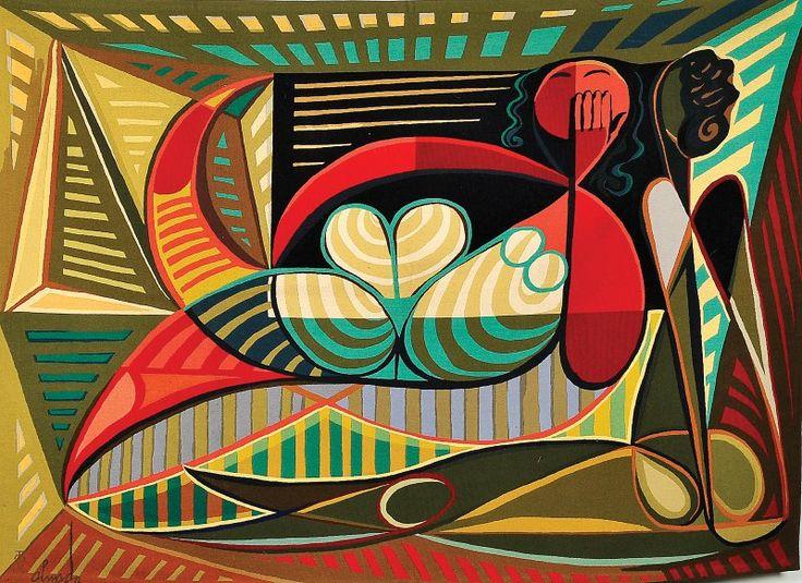"""Autor: ALMADA NEGREIROS - 1893-1970. Designação: """"Integração racial"""". Material: Tapeçaria da Manufactura de Tapeçarias de Portalegre."""