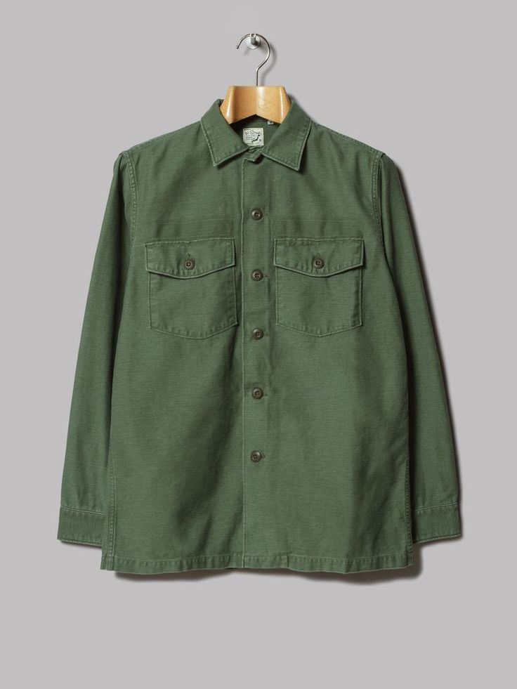 orSlow US Army Shirt (Used Green Original Reverse Cotton Sateen)