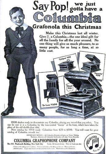 HOME ENTERTAINMENT: Columbia Grafonola Christmas ad, December 1913