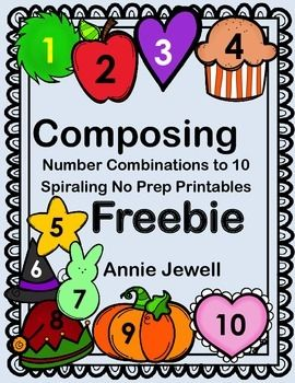 Number Combinations to Ten Monthly Kindergarten Common Core Math Activities. This FREEBIE includes 2 activities. Valentine for February and Clouds for the April. Common Core KOA3 and KOA4.