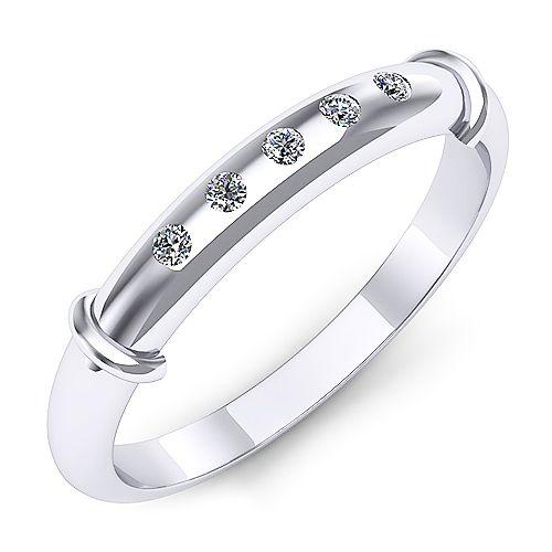 Inel logodna F57ADI INEL DE LOGODNA REALIZAT DIN AUR ALB 14K CU CINCI DIAMANTE  * Piatra principala: diamante 5buc x ~1.30mm - greutate: ~0.05ct * Culoare: G, Claritate: SI1, Taietura: rotund briliant