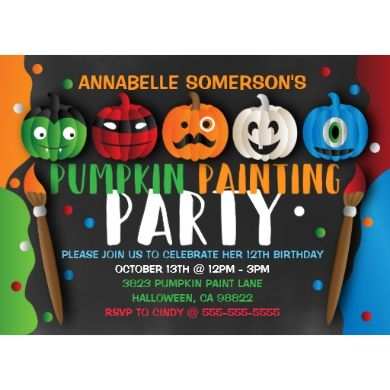 This invitation is adorable and great for a kids pumpkin painting party. The design features pumpkins painted as different characters, paint brushes and fun splashes of paint scattered all over the invitation. The background has a cute chalkboard background that is trendy, the foreground is colorful and inviting!