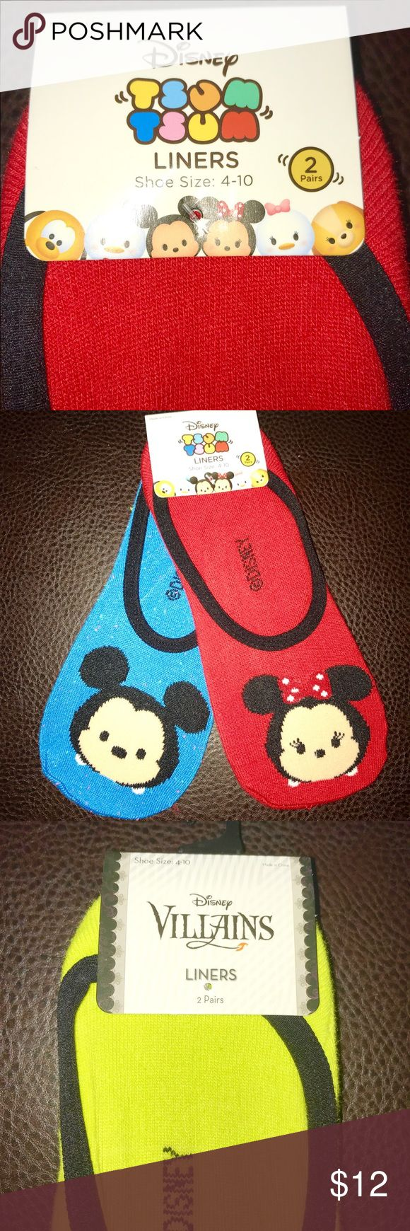 Disney Liner Socks Super cute Disney liner socks. One set of 2 come with Tsum Tsum style Mickey and Mini Mouse. The other set is of the Evil Queen and Malfeasance. $12 EACH or $20 for both. Hot Topic Accessories Hosiery & Socks