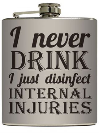 """""""Internal Injuries"""" Flask by Liquid Courage"""