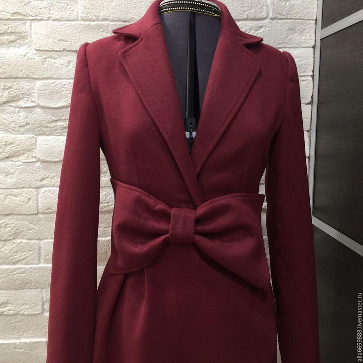 Купить Пальто Бант - бордовый, однотонный, пальто, Дизайнерское пальто, зимнее пальто, демисезонное пальто