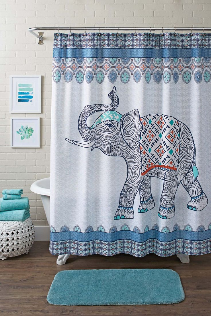 Chevron bathroom sets with shower curtain and rugs - Better Homes And Gardens Global Elephant Shower Curtain Multiple Colors