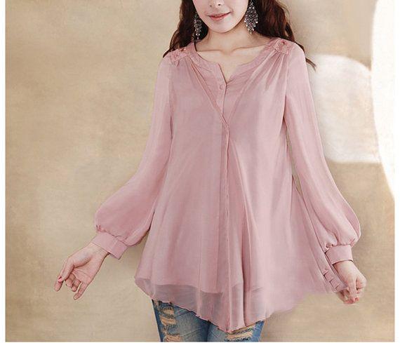 Pink/ BLue /Red vintage chiffon blouse women blouse fashion shirt two piece blouse--TP019