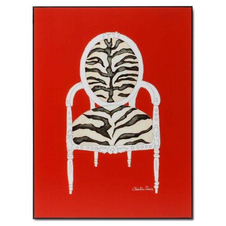 Art.com Zebra Chair on Red by Chariklia Zarris - Mounted Print, Original Red