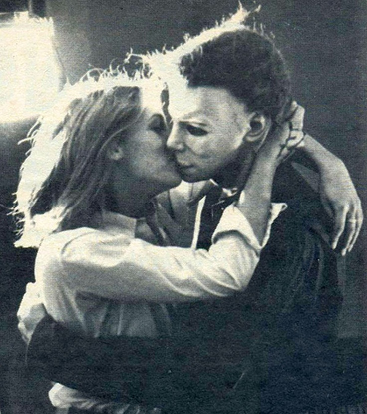 Laurie Strode, played by Jamie Lee Curtis, and Tony Moran as Michael Myers In John Carpenter's Halloween (1978)