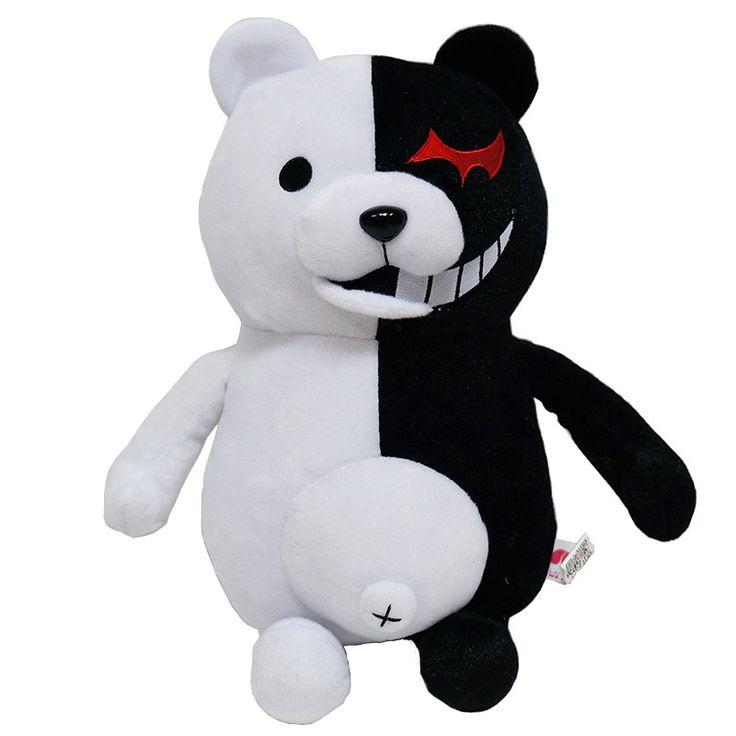 Kawaii Cartoon Monokuma Bear Soft Plush Toy Black/Pink Anime Stuffed Danganronpa Doll Peluche Figure Toys for Kids Gift