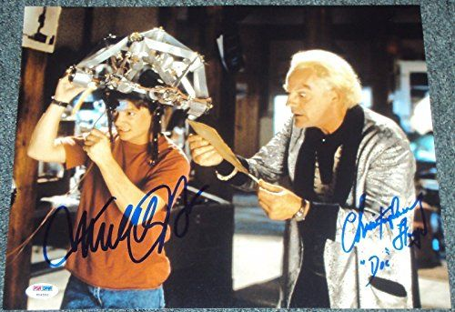 MICHAEL J FOX CHRISTOPHER LLOYD SIGNED BACK TO THE FUTURE PHOTO PSA/DNA V04592 @ niftywarehouse.com #NiftyWarehouse #BackToTheFuture #Movie #Film #Movies #Gifts