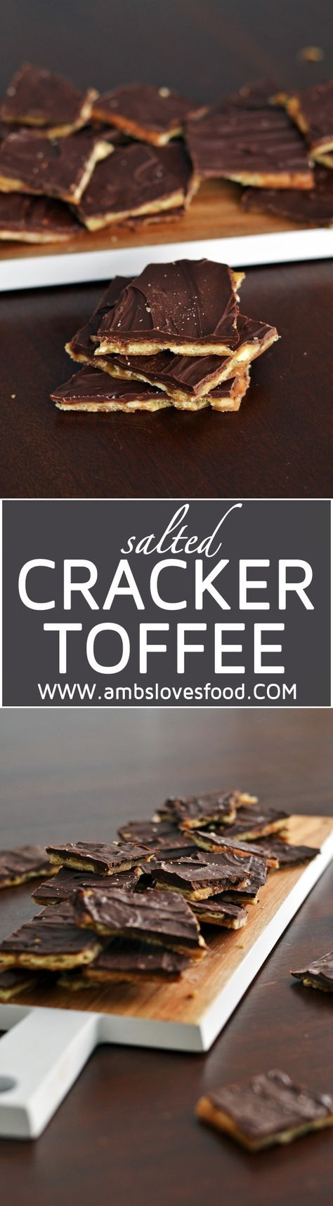 Salted Cracker Toffee made with an easy base of saltine crackers, layered with homemade caramel and topped with semi-sweet chocolate chips.