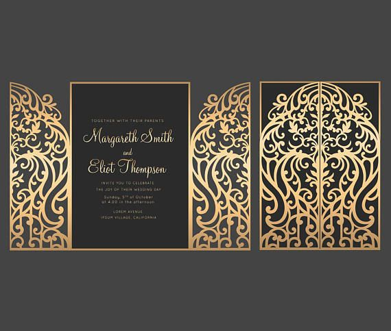 5x7'' Gate Fold Door Wedding Invitation Card Template