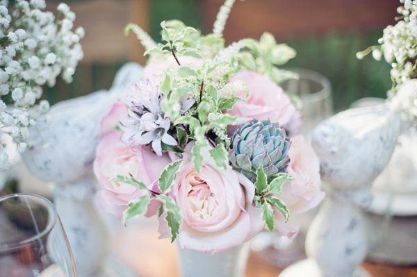 succulent and pink floral arrangements from Jennifer Frisbie-Link // photo by Athena Pelton: Gorgeous Colors, Flowers Centerpieces, Artichokes, Pink Colors, Soft Colors, Colors Schemes, Pastel Flowers, Big, Soft Pastel