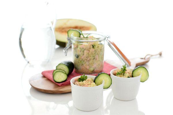 Ensalada de quinoa, salmón y pepino   Velocidad Cuchara