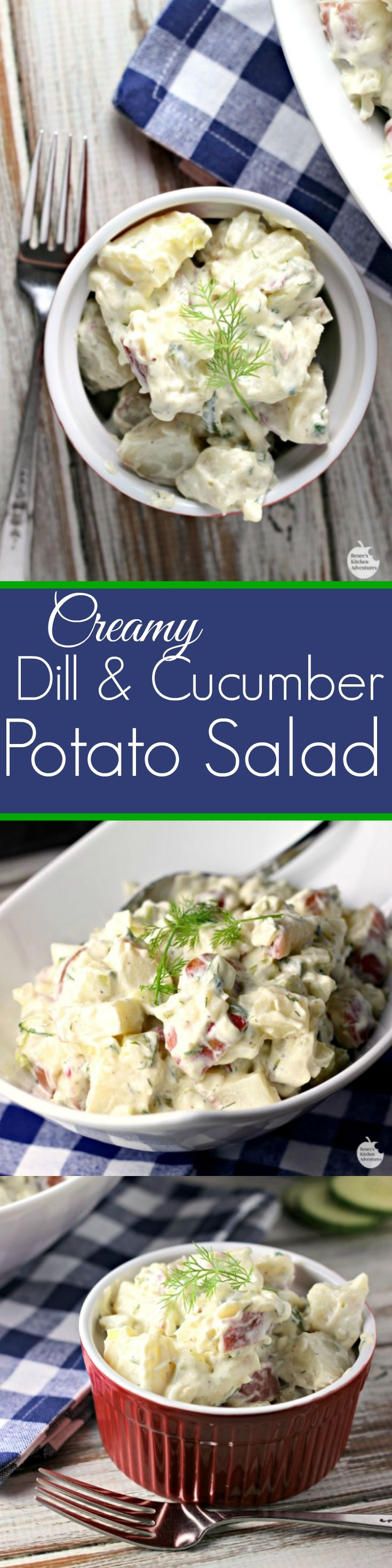 Creamy Dill and Cucumber Potato Salad | by Renee's Kitchen Adventures - an easy healthy recipe for a twist on classic potato salad. So good!!!