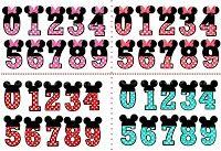 Números a lo Minnie en Rosa, Rojo, Sandía y Celeste.