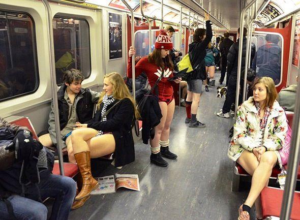 No Pants Subway Ride Toronto , January 2014.  Temperatures were mild .