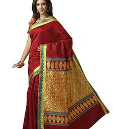 Buy Red embroidered art silk saree with blouse south-indian-saree online