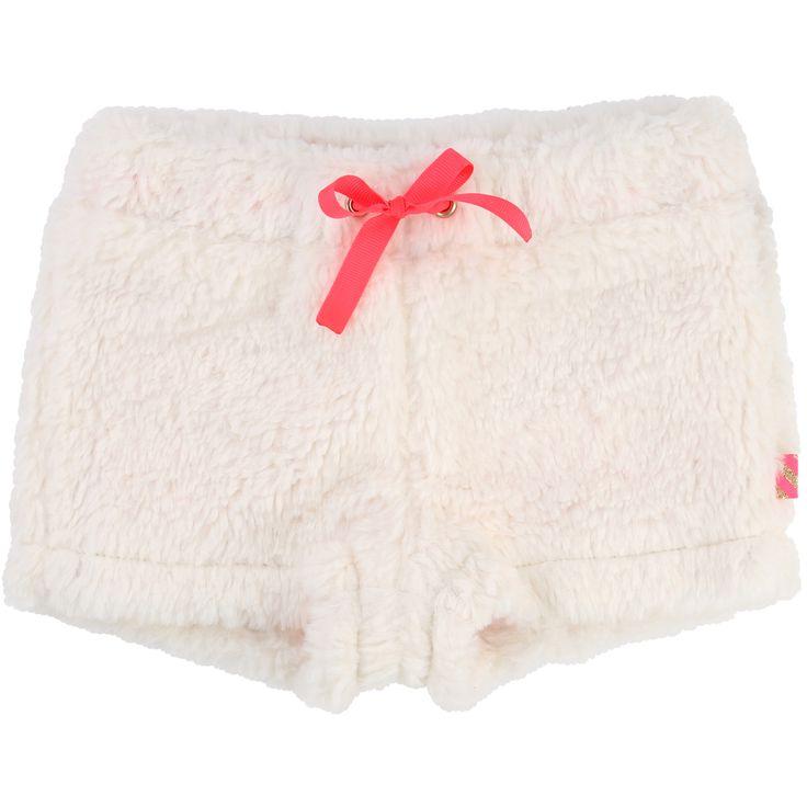 Short fausse fourrure avec lien de serrage fantaisie à la taille et doublure jersey contrastée.