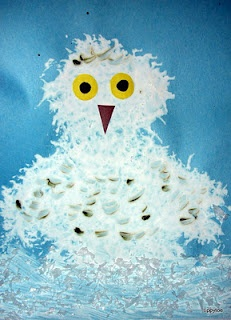 """Tippytoe Crafts  snow owl  using the """"fluffy bath sponges"""" for the body and fingerprints for the brown spots.  fake snow too"""