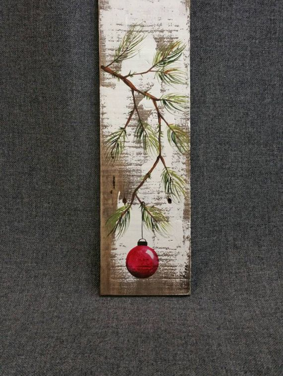 RED Hand painted Christmas decoration, GIFTS UNDER 25, Pine Branch with Red Bulb, Reclaimed barnwood, Pallet art, Shabby chic Original Acrylic painting on reclaimed barnwood boards. This unique piece is appx. 16-17 tall. It is a fun, personal touch to add to your Christmas decor or a great gift for teachers. The CHRISTMAS bulb can be ordered in any color!! All of my creations are made of reclaimed boards. They are hand painted and are made after they are ordered. Although I try to duplica...