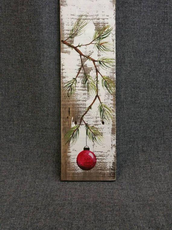 Peint à la main rouge décoration de Noël par TheWhiteBirchStudio