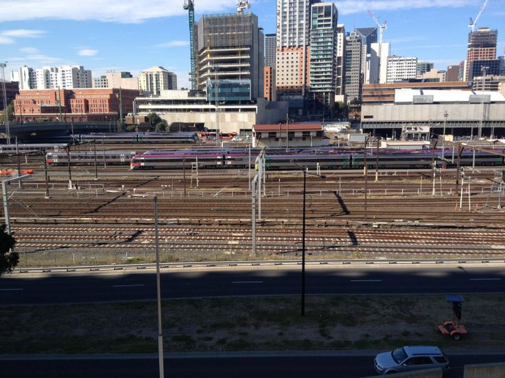 Rail yards at Southern Cross Station. As seen from the Docklands Stadium