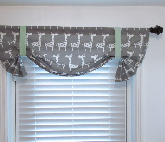 Giraffe Tie Up Valance Storm Grey Mint Green Children Nursery Curtains Lined Window Topper Custom Sizing Available