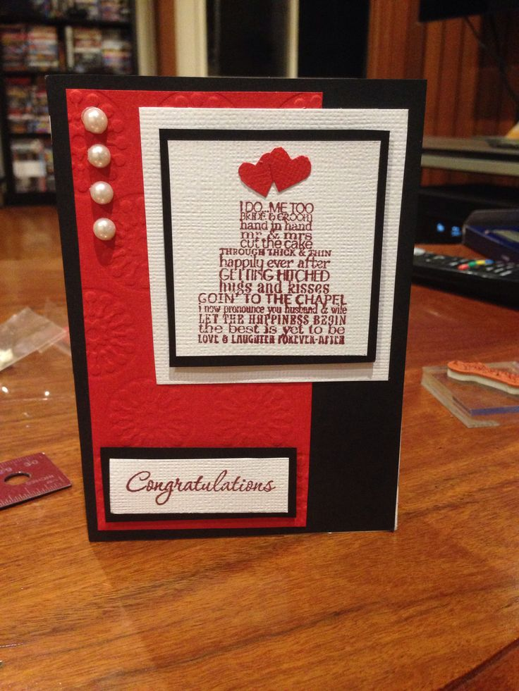 Wedding card. Black red and white. Using love & laughter stamp set