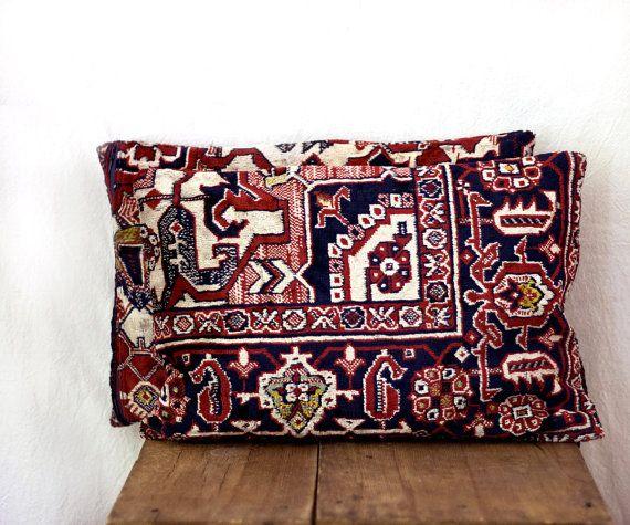 coussin velours, coussin anatolienne, 12 x 18, deux, décoratifs jeter d'oreillers, housses de coussin de canapé, tapis oriental oreiller, oreiller de tapis kilim, 31