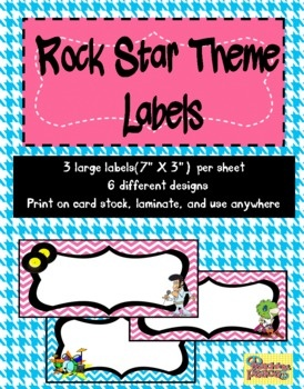 Organizing is key and labeling makes it even easier! There are six different rock star theme labels with three large labels(7