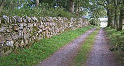 17th century dry stone wall at Muchalls Castle, Scotland