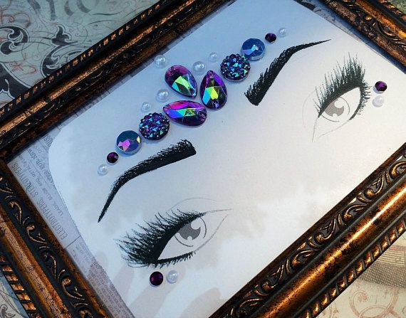 Face Gems, Face Jewels, Purple Mermaid Costume, Mermaid Jewels, Rave Wear, Festival Accessories, Loose Face Gems, Rhinestone Face Set 00327