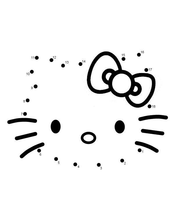 Connect The Dots Activity Coloring Pages Of Hello Kitty