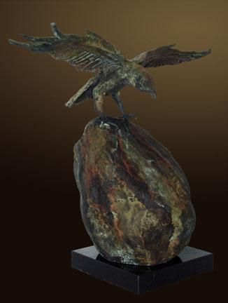 """Raven's View D"" by Renzo Bronze Sculpture Edition Size: 55 SN Size: 14""h x 18""w x 10""d"